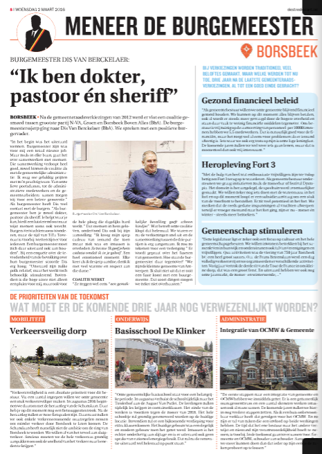 Streekkrant burgemeester borsbeek